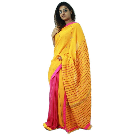 Yellow & Pink Embroidered Khes Cotton Saree With Foil Mirror Work