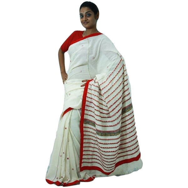 Off White & Red Embroidered Khes Cotton Saree With Foil Mirror Work - Indianloom