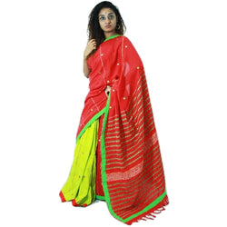 Red & Green Embroidered Khes Cotton Saree With Foil Mirror Work - Indianloom