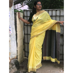Yellow Khadi Cotton Saree