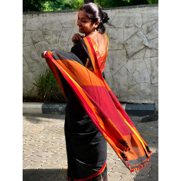 Black with Maroon Khadi Cotton Saree - Indianloom