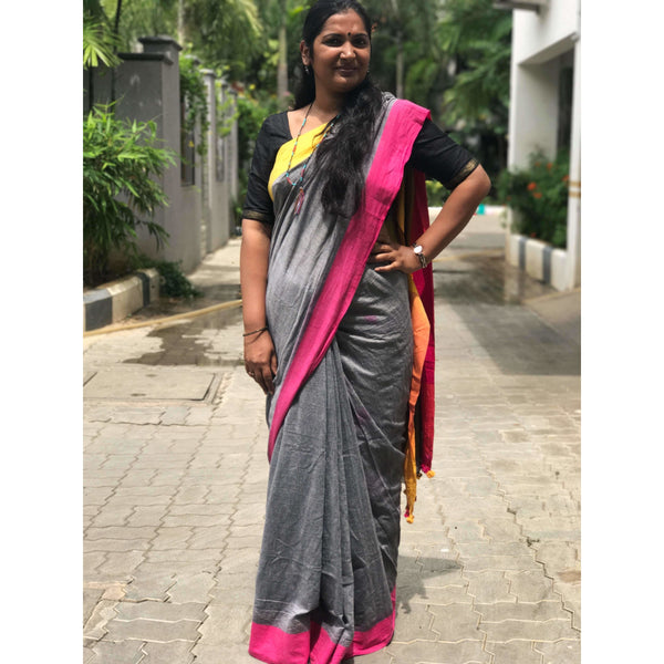 Grey with Yellow & Pink Khadi Cotton Saree - Indianloom