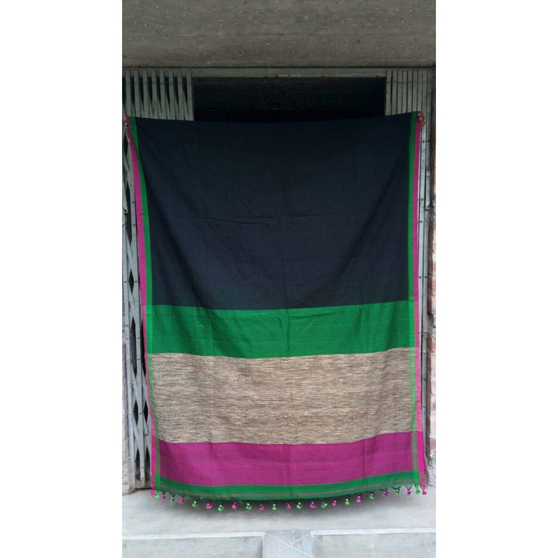 Black Khadi Cotton Saree with Gicha Pallu - Indianloom
