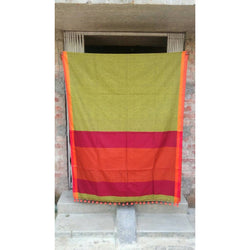 Green & Red Khadi Cotton Saree - Indianloom