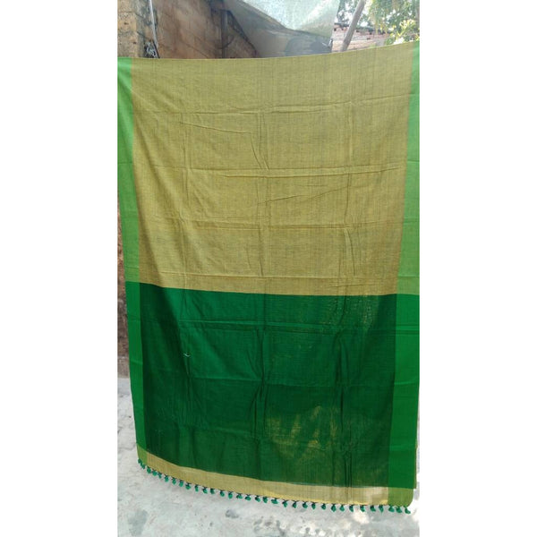 Green Khadi Cotton Saree - Indianloom