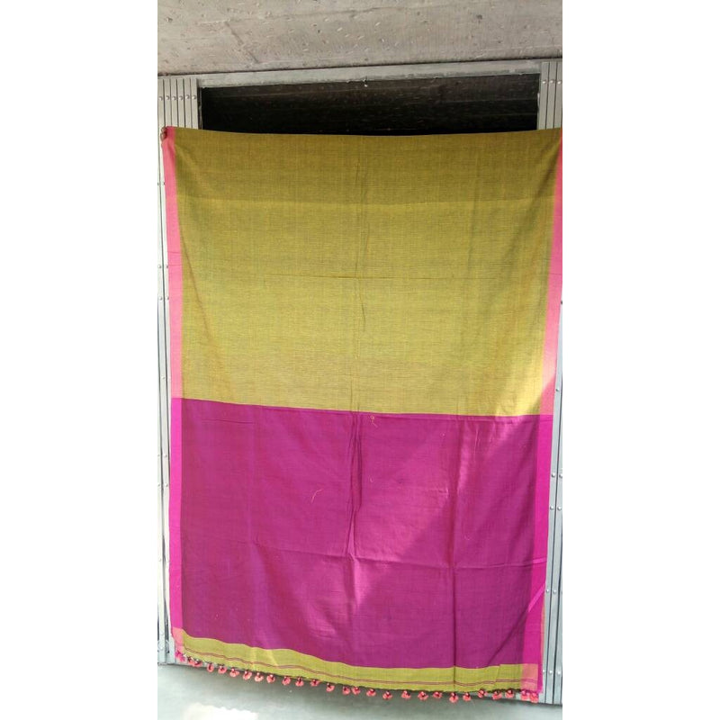 Mehendi Green & Pink Khadi Cotton Saree - Indianloom