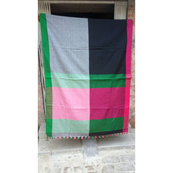 Multi Color Khadi Cotton Saree - Indianloom