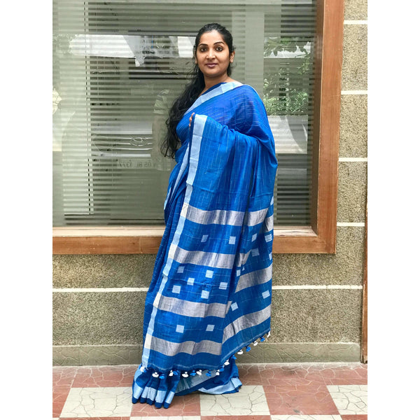 Blue Khadi Cotton Saree with Silver Zari - Indianloom