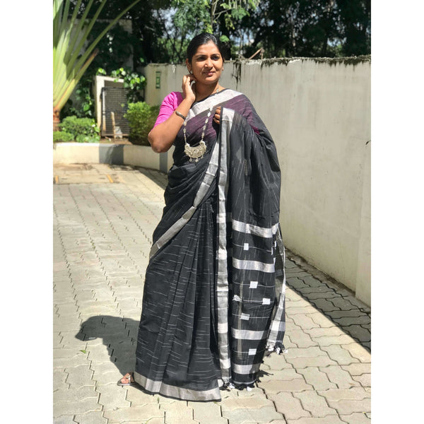Black Khadi Cotton Saree with Silver Zari - Indianloom