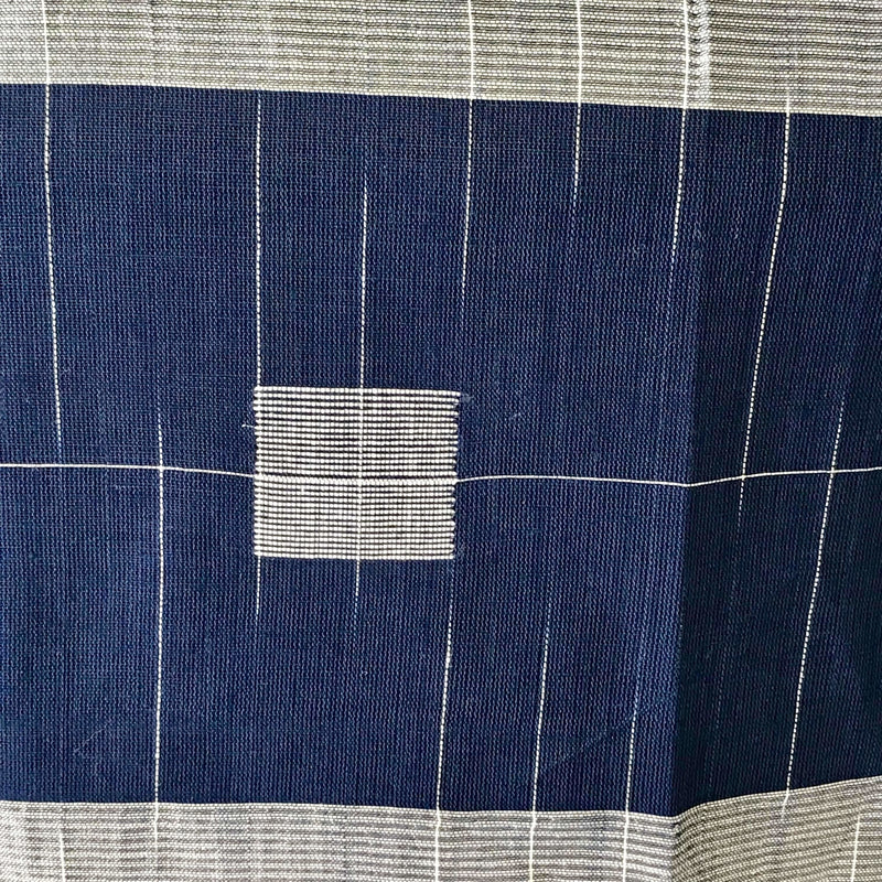 Navy Blue Khadi Cotton Saree with Silver Zari - Indianloom