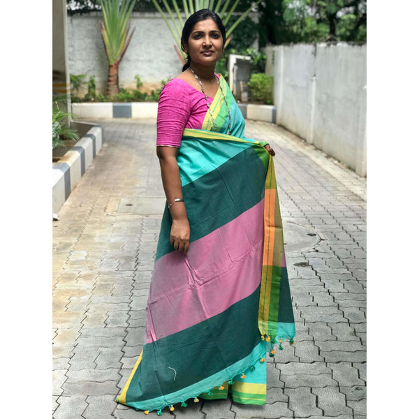 Turquoise Khadi Cotton Saree