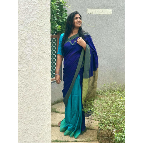 Blue Partly Khadi Cotton Saree with Gicha Pallu