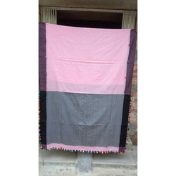 Light Pink Khadi Cotton Saree With Pom Poms - Indianloom