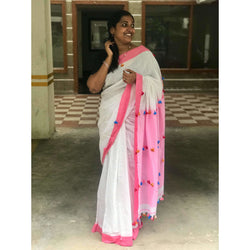 Off White & Pink Khadi Cotton Saree with Pom Poms - Indianloom