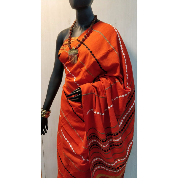 Orange Khes Cotton Saree With Embroidery Work - Indianloom
