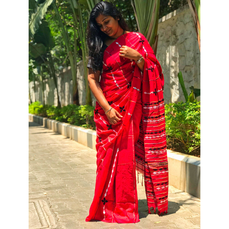 Red Khes Cotton Saree With Embroidery Work - Indianloom
