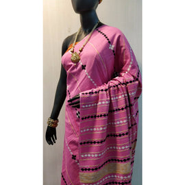 Pink Khes Cotton Saree With Embroidery Work - Indianloom