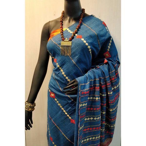 Blue Khes Cotton Saree With Embroidery Work - Indianloom