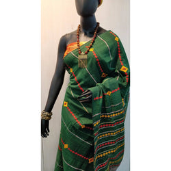 Green Khes Cotton Saree With Embroidery Work - Indianloom