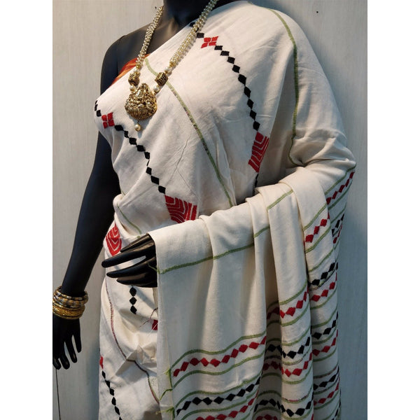Off White Khes Cotton Saree With Embroidery Work - Indianloom