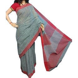 Black & Off White Chequered Khadi Saree with Red Border - Indianloom