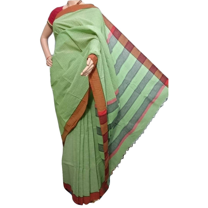 Green Khadi Saree - Indianloom
