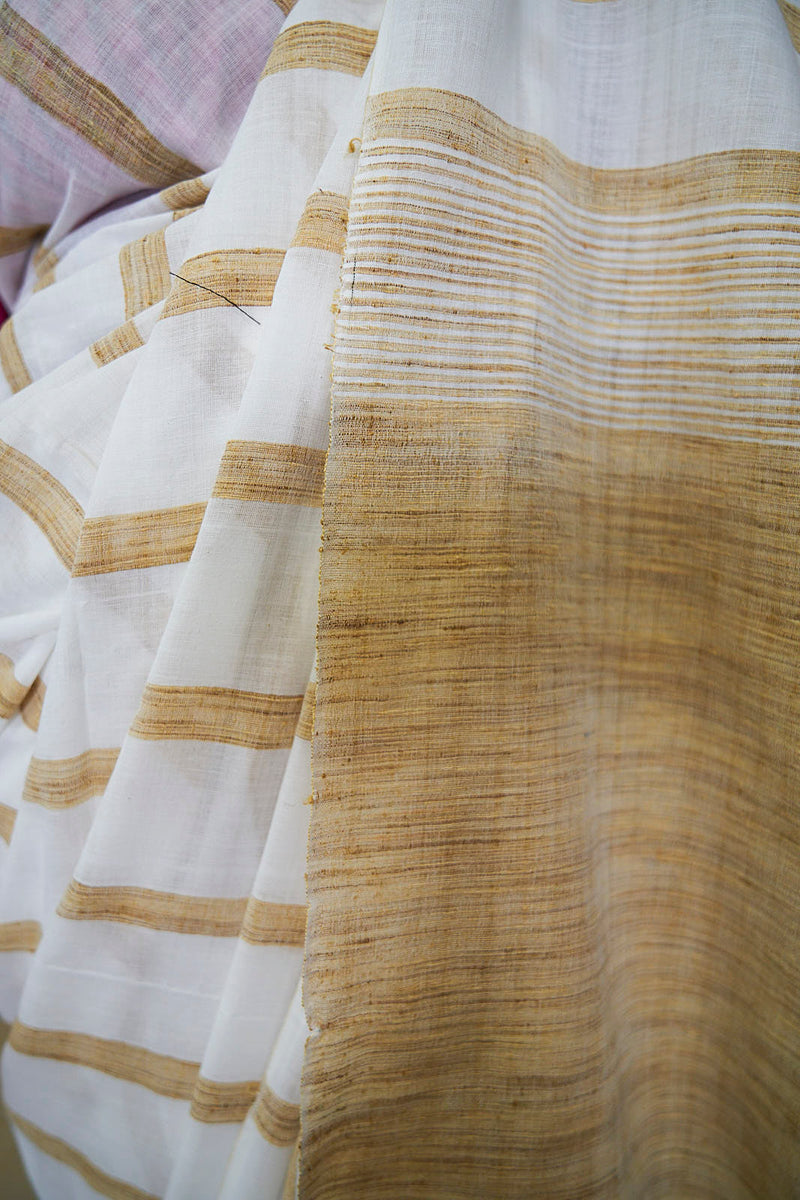 Khadi Saree With Gicha Lines - Indianloom