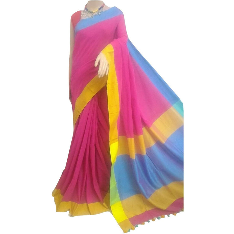 Pink with Yellow & Blue Khadi Saree - Indianloom