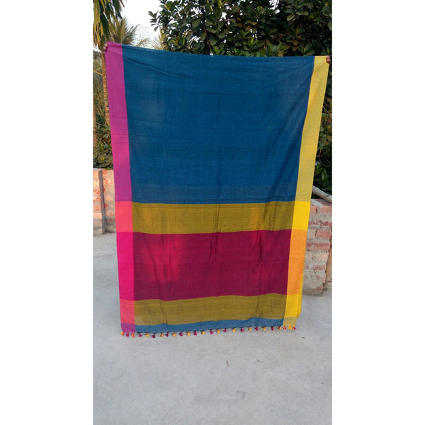 Blue with Yellow & Pink Khadi Cotton Saree - Indianloom