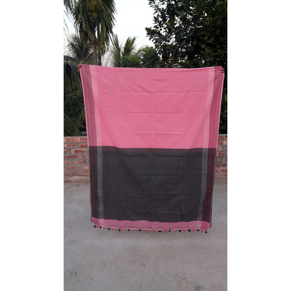 Pink & Black Khadi Cotton Saree - Indianloom