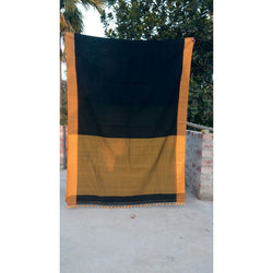 Black Khadi Cotton Saree - Indianloom