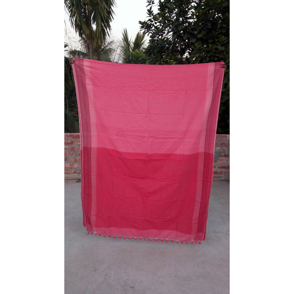 Rose & Red Khadi Cotton Saree - Indianloom