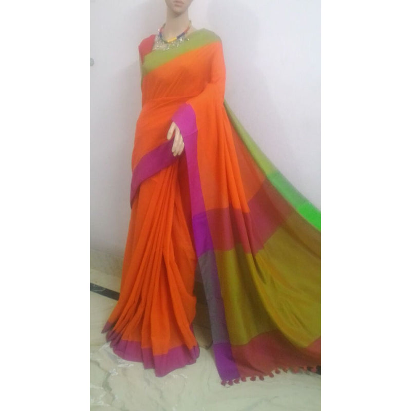 Orange Khadi Cotton Saree - Indianloom