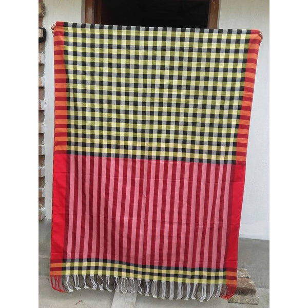Yellow & Black Chequered Khadi Cotton Saree - Indianloom