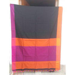 Black with Magenta & Orange Khadi Cotton Saree - Indianloom