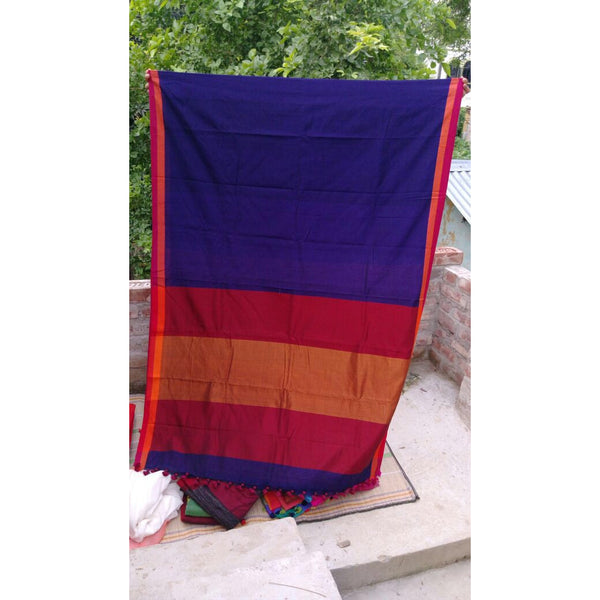 Dark Blue Khadi Cotton Saree - Indianloom