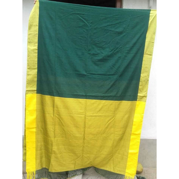 Green & Yellow Khadi Cotton Saree - Indianloom