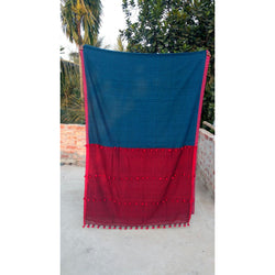 Blue & Red Khadi Cotton Saree With Pom Poms - Indianloom