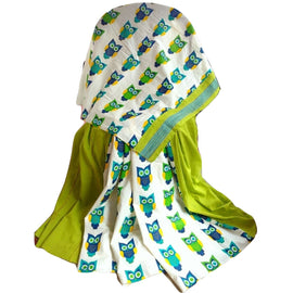 Light Green Khes Cotton Saree With Printed Owl Pallu