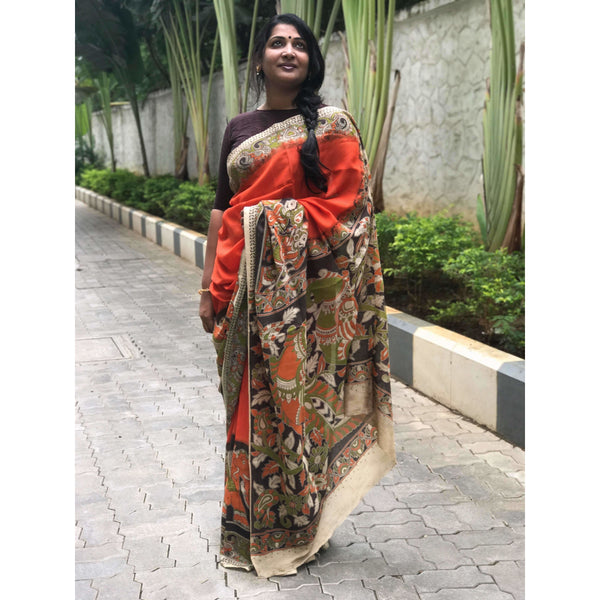 Orange Kalamkari Silk Saree - Indianloom