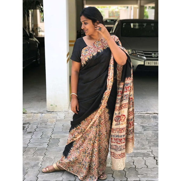 Black Partly Kalamkari Silk Saree - Indianloom