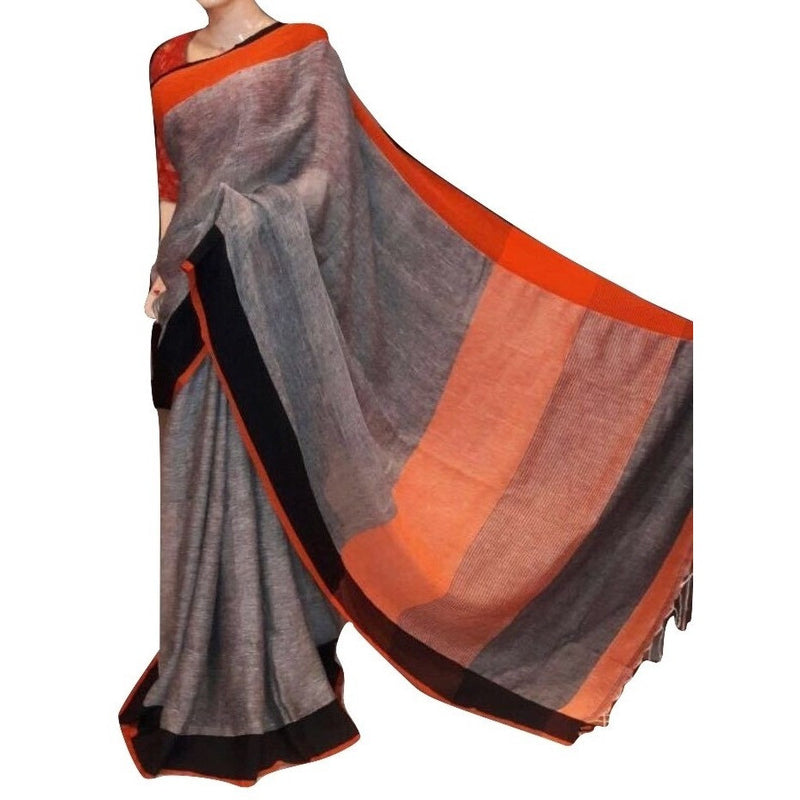 Grey Linen Cotton Saree - Indianloom