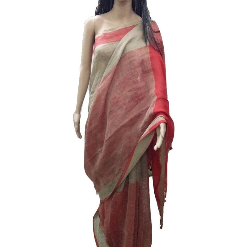 Nazi Red Linen Cotton Saree - Indianloom