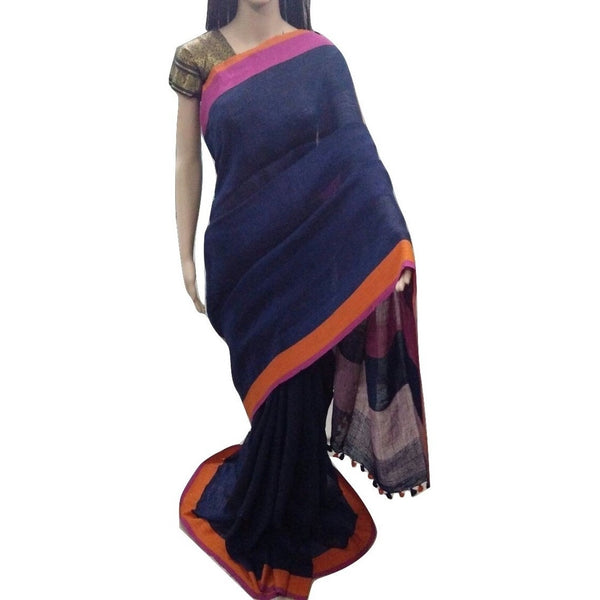 Royal Blue Linen Cotton Saree