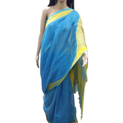 Sky Blue Linen Cotton Saree with Lemon Yellow Border