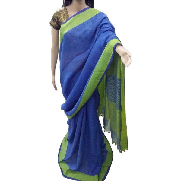 Peacock Blue Linen Cotton Saree - Indianloom