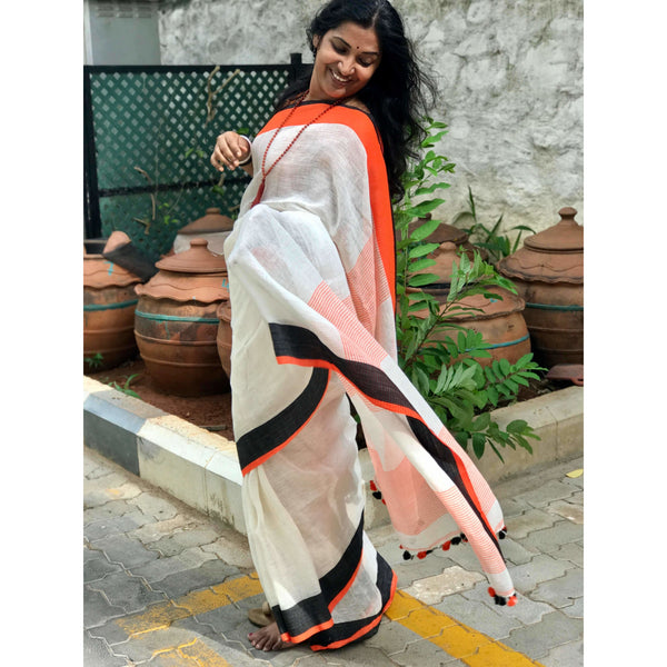 Natural White Linen Cotton Saree - Indianloom