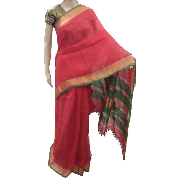 Tomato Red Linen Cotton Saree with Golden Zari Border