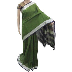 Olive Green Linen Cotton Saree with Zari Border - Indianloom