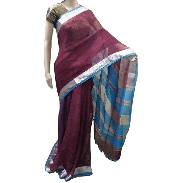 Maroon Rust Linen Cotton Saree with Zari Border - Indianloom